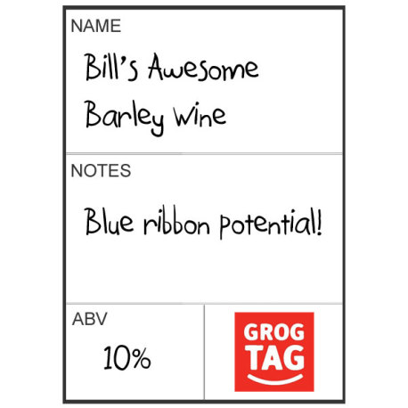 GrogTag Reusable Basic Bottle Label, 24 pk.