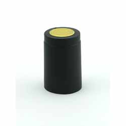 Shrink Caps, Oversized, Black, Gold Tops. 30/bag