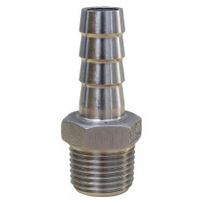 Stainless Barbed Fitting - 1/2 in. MPT x 1/2 in. Barb